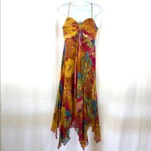 SL Fashions butterfly 🦋 scarf hem midi dress 14P